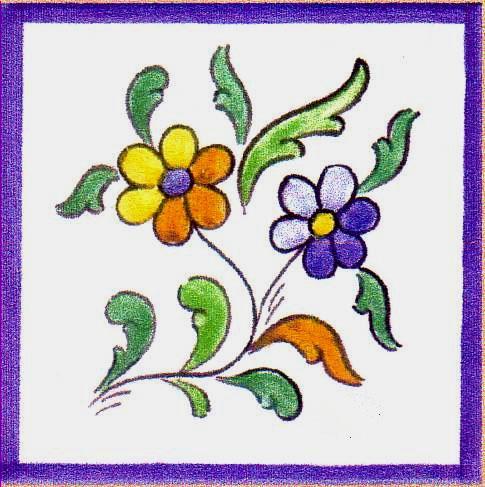 Azulejos ceramica con cenefas pintadas mano portal car for Cenefas ceramica